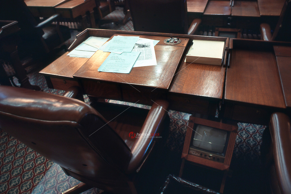 Vintage view of a seat in Texas House Chamber showing video voting buttons, May 1990 - Stock Image.