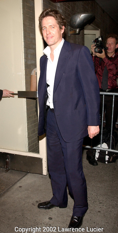 Actor Hugh Grant arrives at the after party for the film premier Murder by Numbers April 16, 2002 in New York City..