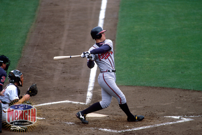 SAN FRANCISCO, CA - Chipper Jones of the Atlanta Braves bats during a game against the San Francisco Giants at Candlestick Park in San Francisco, California in 1998. Photo by Brad Mangin