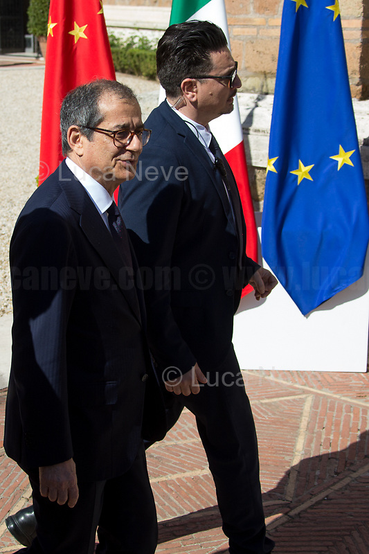 """Giovanni Tria (Minister of Economy and Finance - Independent).<br /> <br /> Rome, 23/03/2019. The President of the People's Republic of China (General Secretary of the Communist Party of China, and Chairman of the Central Military Commission), Xi Jinping, meets the Italian Prime Minister Giuseppe Conte at Villa Madama during the second day of a three-day State visit to Italy. After the arrival of Xi Jinping greeted with the full honors at the splendid Renaissance Villa designed by Raffaello Sanzio, the Chinese delegation and the Italian delegation led by the Luigi Di Maio (Deputy Prime Minister, Minister of Economic development, Labour and Social Policies, and leader of the Five Star Movement) signed a memorandum of understanding - 29 separate protocols - supporting the """"Belt and Road"""" initiative (part of the """"New Silk Road Project"""") as the first of the Seven major economies in the world. Luigi Di Maio stated that """"the value of individual deals signed amounts to about 2,5 billion euros, with the potential to grow to about 20 billion euros""""."""