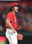 Yu Darvish (Rangers),<br /> SEPTEMBER 30, 2016 - MLB :<br /> Yu Darvish of the Texas Rangers celebrates after getting Jaff Decker (not pictured) of the Tampa Bay Rays to strike out swinging to end the top of the sixth inning during the Major League Baseball game at Globe Life Park in Arlington in Arlington, Texas, United States. (Photo by AFLO)