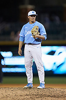 North Carolina Tar Heels relief pitcher Joey Lancellotti (36) looks to his catcher for the sign against the South Carolina Gamecocks at BB&T BallPark on April 3, 2018 in Charlotte, North Carolina. The Tar Heels defeated the Gamecocks 11-3. (Brian Westerholt/Four Seam Images)