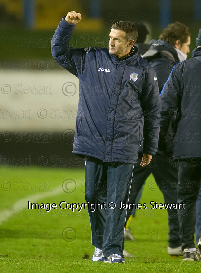 Queen of the South manager Jim McIntyre respond to taunts from Cowdenbeath fans at the end of the game.