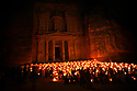 A PIECE OF JORDAN - TRAVEL FEATURE. SCENES FROM THE ANCIENT NABATEAN SITE OF PETRA, JORDAN.  PETRA BY NIGHT. PHOTO BY CLARE KENDALL. 07971 477316.