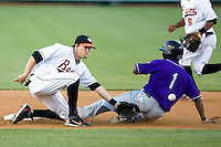 Jose Constanza (1) of the Akron Aeros steals second base as shortstop Blake Davis (5) waits for the throw at Prince Georges Stadium in Bowie, MD, Tuesday June 17, 2008.