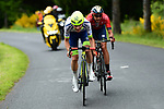 Guillaume Martin (FRA) Wanty-Gobert and Dylan Teuns (BEL) Bahrain-Merida break clear during Stage 2 of the Criterium du Dauphine 2019, running 180km from Mauriac to Craponne-sur-Arzon, France. 9th June 2019<br /> Picture: ASO/Alex Broadway | Cyclefile<br /> All photos usage must carry mandatory copyright credit (© Cyclefile | ASO/Alex Broadway)