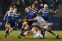 Luke Charteris of Bath Rugby takes on the Gloucester Rugby defence. Premiership Rugby Cup match, between Bath Rugby and Gloucester Rugby on February 3, 2019 at the Recreation Ground in Bath, England. Photo by: Patrick Khachfe / Onside Images