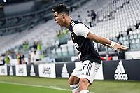20th July 20202, Allianz Stadium, Turin, Italy; Serie A football league, Juventus versus Lazio;  Cristiano Ronaldo  celebrates his penaly kick goal for 1-0 in the 51st minute