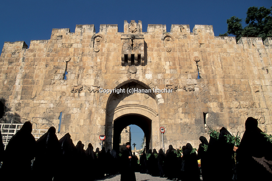 Israel, Jerusalem, Assumption Day procession enters the Old City through Lions Gate