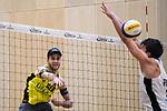 05.01.2019, Den Haag, Sportcampus Zuiderpark<br />Beachvolleyball, FIVB World Tour, 2019 DELA Beach Open<br /><br />Angriff Clemens Wickler (#2) - Block Santeri Siren (#2 FIN)<br /><br />  Foto &copy; nordphoto / Kurth