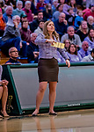 26 January 2019: University of Vermont Catamount Interim Head Coach Alisa Kresge watches play against the Stony Brook Seawolves at Patrick Gymnasium in Burlington, Vermont. The Lady Seawolves defeated the Lady Catamounts 67-61 in America East Women's Basketball. Mandatory Credit: Ed Wolfstein Photo *** RAW (NEF) Image File Available ***