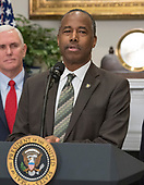 United States Secretary of Housing and Urban Development Ben Carson makes remarks prior to US President Donald J. Trump signing a proclamation to honor Dr. Martin Luther King, Jr. Day in the Roosevelt Room of the White House in Washington, DC on Friday, January 12, 2018.  <br /> Credit: Ron Sachs / CNP