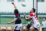 Matthew Rosslee of Hong Kong (L) and Amanaki Lotoahea of Japan (R) during the Asia Rugby Championship 2017 match between Hong Kong and Japan on May 13, 2017 in Hong Kong, China. Photo by Marcio Rodrigo Machado / Power Sport Images