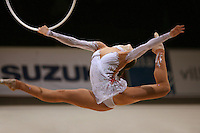 Anna Bessonova of Ukraine split leaps with hoop at 2007 Thiais Grand Prix near Paris, France on March 25, 2007.