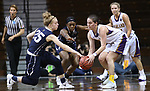 SIOUX FALLS, SD: MARCH 19:  Renee Stimpert #4 of Ashland gets ahold of a loose ball as Rylee Kane #25 and Hannah Collins #2 of MSU Billings close in during their game at the 2018 Division II Women's Elite 8 Basketball Championship at the Sanford Pentagon in Sioux Falls, S.D. (Photo by Dick Carlson/Inertia)