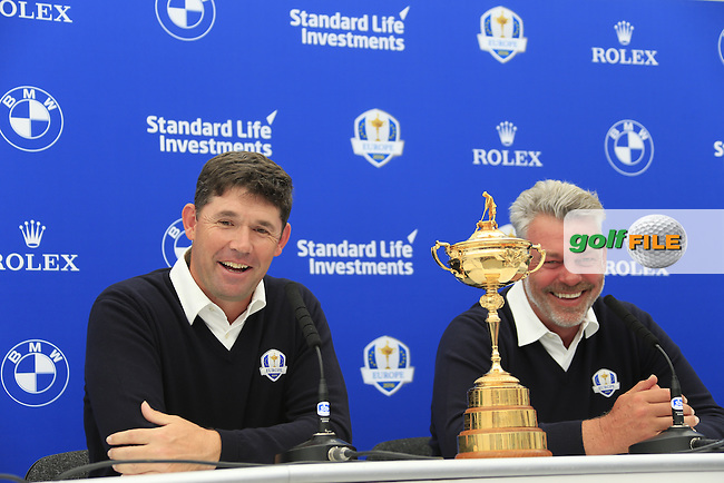 Padraig Harrington with Darren Clarke Captain speaking at the announcement of the Ryder cup vice captains press conference during  round 2 of the 2016 BMW PGA Championship. Wentworth Golf Club, Virginia Water, Surrey, UK. 27/05/2016.<br /> Picture Fran Caffrey / Golffile.ie<br /> <br /> All photo usage must carry mandatory copyright credit (&copy; Golffile | Fran Caffrey)