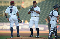 NWA Democrat-Gazette/ANDY SHUPE<br /> Northwest Arkansas Naturals Tulsa Drillers Wednesday, July 11, 2018, during the inning at Arvest Ballpark in Springdale. Visit nwadg.com/photos to see more photographs from the game.
