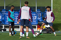 Raheem Sterling and Alex Oxlade-Chamberlain during the part open training session of the  England national football squad at St George's Park, Burton-Upon-Trent, England on 31 August 2017. Photo by James Williamson.
