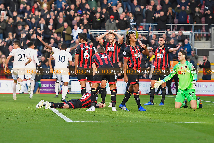 Marcus Rashford of Manchester United (10) scores the second and winning goal as the AFC Bournemouth players show their frustration during AFC Bournemouth vs Manchester United, Premier League Football at the Vitality Stadium on 3rd November 2018