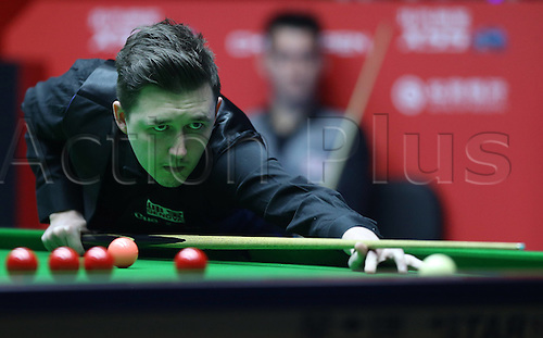 29.03.2016. Beijing, China,  Kyren Wilson of Britain reacts during the match against Tom Ford of Britain at the 2016 World Snooker China Open in Beijing, China, March 29, 2016.