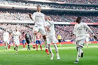 Carlos Henrique Casemiro, Sergio Ramos and Vinicius Jr of Real Madrid celebrating a goal during La Liga match between Atletico de Madrid and Real Madrid at Wanda Metropolitano in Madrid Spain. February 09, 2018. (ALTERPHOTOS/Borja B.Hojas)<br /> Liga Campionato Spagna 2018/2019<br /> Foto Alterphotos / Insidefoto <br /> ITALY ONLY