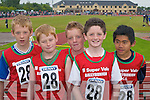GAMES: Ballybunion runners JJ Doherty, Michael Doherty, Rory Mulvihill, Neilus Mulvihill and Alan Ho at the Community Games County Finals at An Riocht Track, Castleisland, last Saturday..