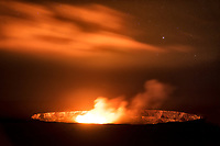 Halemaumau Crater glowing at night. Hawai'i Volcanoes National Park, HI