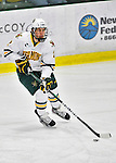 10 February 2012: University of Vermont Catamount defenseman Drew MacKenzie, a Senior from New Canaan, CT, in action against the Boston College Eagles at Gutterson Fieldhouse in Burlington, Vermont. The Eagles defeated the Catamounts 6-1 in their Hockey East matchup. Mandatory Credit: Ed Wolfstein Photo