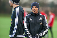 Wednesday  06 January 2016<br /> Pictured: Kyle Naughton (R) of Swansea in action during training<br /> Re: Swansea City Training session at the Fairwood training ground, Swansea, Wales, UK