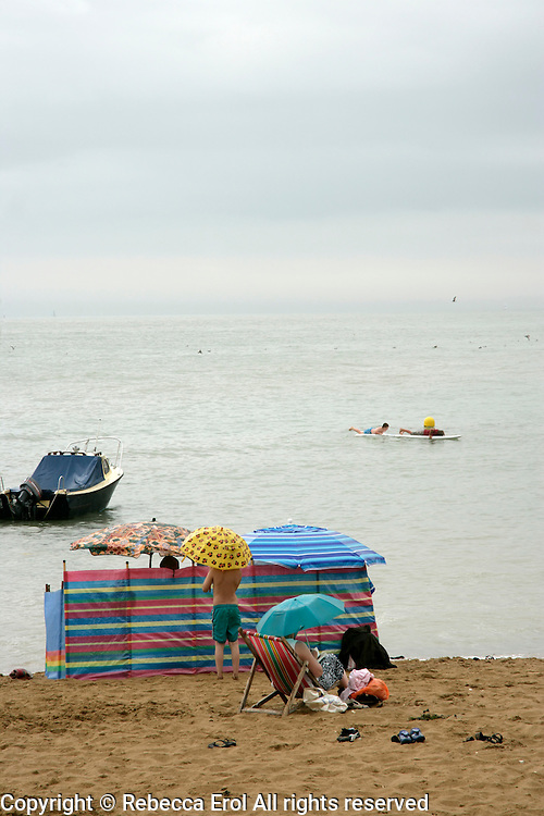British seaside on a raiy day: Broadstairs, Kent, UK