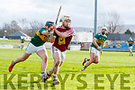 Jason Diggins Kerry in action against Alan Devine Westmeath in the Allianz Hurling League 2A at Austin Stack Park on Sunday.
