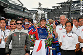 Verizon IndyCar Series<br /> Indianapolis 500 Race<br /> Indianapolis Motor Speedway, Indianapolis, IN USA<br /> Sunday 28 May 2017<br /> Takuma Sato, Michael Andretti Autosport Honda celebrates the win in Victory Lane with Honda Engineers<br /> World Copyright: Scott R LePage<br /> LAT Images<br /> ref: Digital Image lepage-170528-indy-10659<br /> ref: Digital Image lepage-170528-indy-10812