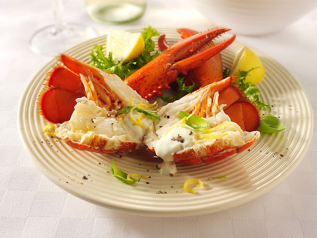 Fresh whole lobster with salad salad