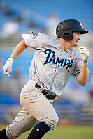 Tampa Tarpons shortstop Kyle Holder (8) runs to first base during a game against the Dunedin Blue Jays on June 2, 2018 at Dunedin Stadium in Dunedin, Florida.  Dunedin defeated Tampa 4-0.  (Mike Janes/Four Seam Images)