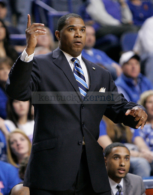 Morehead State head coach Sean Woods at the UK men's baksetball game vs. Morehead State at Rupp Arena in Lexington, Ky., on Wednesday, November 21, 2012. Photo by Tessa Lighty | Staff