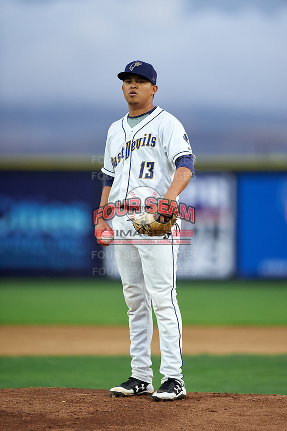 Tri-City Dust Devils starting pitcher Gabriel Morales (13) during a Northwest League game against the Vancouver Canadians at Gesa Stadium on August 21, 2019 in Pasco, Washington. Vancouver defeated Tri-City 1-0. (Zachary Lucy/Four Seam Images)