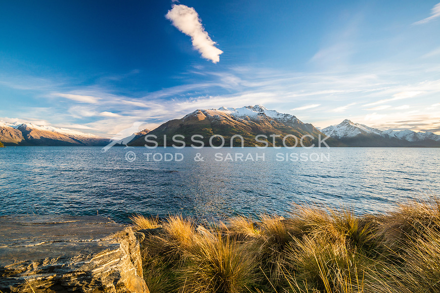 Lake Wakatipu, Cecil Peak, Sunset, Queenstown, New Zealand - stock photo, canvas, fine art print