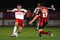 James Dunne of Stevenage is tackled by Tommy Elphick of Bournemouth. Bournemouth v Stevenage - npower League 1 -  Goldsands Stadium, Bournemouth - 20th November, 2012. © Kevin Coleman 2012