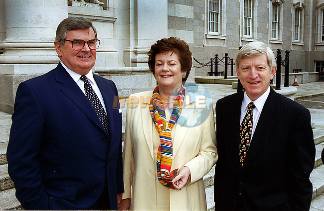 PICTURED AT THE LAUNCH OF THE PUBLICATION OF  TELECOM EIREANN'S SHARE OFFER PROSPECTUS TODAY (13TH JUNE 1999) WERE , MARY O' ROURKE, MINISTER FOR PUBLIC ENTERPRISE,  RAY MACSHARRY, CHAIRMAN, TELECOM EIREANN AND ALFIE KANE, CHIEF EXECUTIVE, TELECOM EIREANN. CREDIT GARY O' NEILL .Story Karen McManus