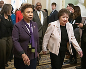 United States Representatives Barbara Lee (Democrat of California), left, and Nita Lowey (Democrat of New York), right, lead US House Democrats to the US Senate Chamber to witness the two votes to reopen the government in the US Capitol in Washington, DC on Thursday, January 24, 2019.  Both proposals were voted upon and both failed to get enough votes to pass.<br /> Credit: Ron Sachs / CNP