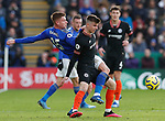 Harvey Barnes of Leicester City challenges Mason Mount of Chelsea during the Premier League match at the King Power Stadium, Leicester. Picture date: 1st February 2020. Picture credit should read: Darren Staples/Sportimage