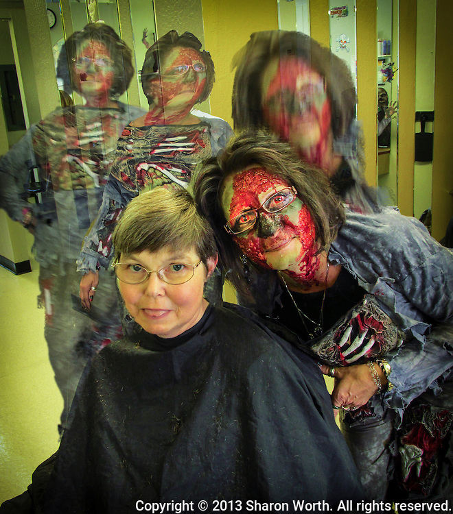 "Sharon got a Halloween haircut from her ""Zombie"".   Too much fun?  No such thing as too much fun on Halloween."