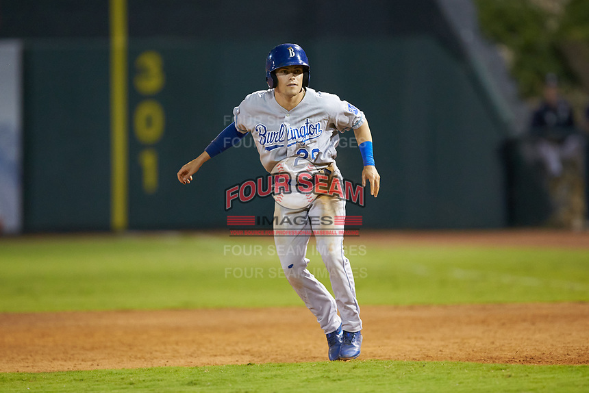 Mikey Filia (29) of the Burlington Royals takes his lead off of first base against the Pulaski Yankees at Calfee Park on September 1, 2019 in Pulaski, Virginia. The Royals defeated the Yankees 5-4 in 17 innings. (Brian Westerholt/Four Seam Images)