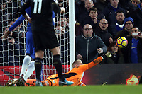 Kasper Schmeichel of Leicester city makes a save from a free kick by Marcos Alonso of Chelsea in the last minute during Chelsea vs Leicester City, Premier League Football at Stamford Bridge on 13th January 2018