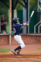 Elizabethton Twins second baseman Michael Helman (13) hits a home run in the bottom of the sixth during a game against the Bristol Pirates on July 29, 2018 at Joe O'Brien Field in Elizabethton, Tennessee.  Bristol defeated Elizabethton 7-4.  (Mike Janes/Four Seam Images)