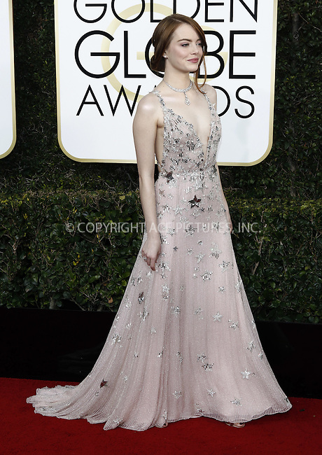 www.acepixs.com<br /> <br /> January 8 2017, LA<br /> <br /> Emma Stone arriving at the 74th Annual Golden Globe Awards at the Beverly Hilton Hotel on January 8, 2017 in Beverly Hills, California.<br /> <br /> By Line: Famous/ACE Pictures<br /> <br /> <br /> ACE Pictures Inc<br /> Tel: 6467670430<br /> Email: info@acepixs.com<br /> www.acepixs.com
