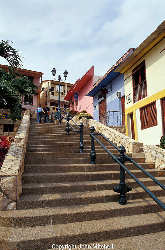 Steep street in the Las Penas restored historic district on Cerro Santa Ana in Guayaquil, Ecuador