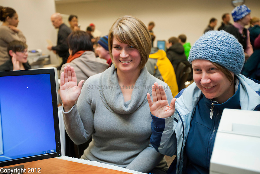 Shortly after midnight, December 6th, 2012, King County began to issue marriage licenses to same-sex couples in Seattle. Jessica Martinson,left, and Lisa Cossette, Seattle, obtain their license around 1:30am. The couple are getting married on January 26, 2013.