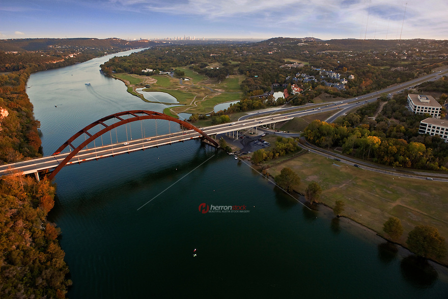 High Angle aerial view of Pennybacker 360 Bridge in Austin Texas