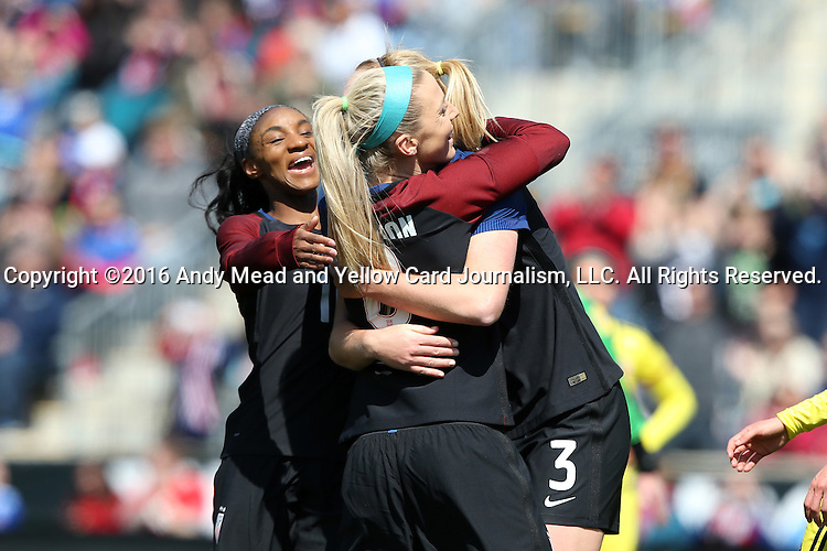 10 April 2016: Julie Johnston (USA) (8) celebrates her first goal with Samantha Mewis (USA) (3) and Crystal Dunn (USA) (left). The United States Women's National Team played the Colombia Women's National Team at Talen Energy Stadium in Chester, Pennsylvania in an women's international friendly soccer game. The U.S. won the match 3-0.